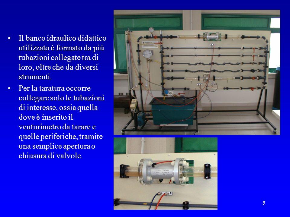 5 Il banco idraulico didattico utilizzato è formato da più tubazioni collegate tra di loro, oltre che da diversi strumenti. Per la taratura occorre co