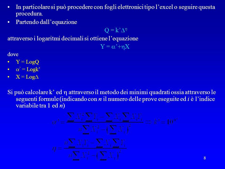 8 In particolare si può procedere con fogli elettronici tipo lexcel o seguire questa procedura. Partendo dallequazione Q = k attraverso i logaritmi de