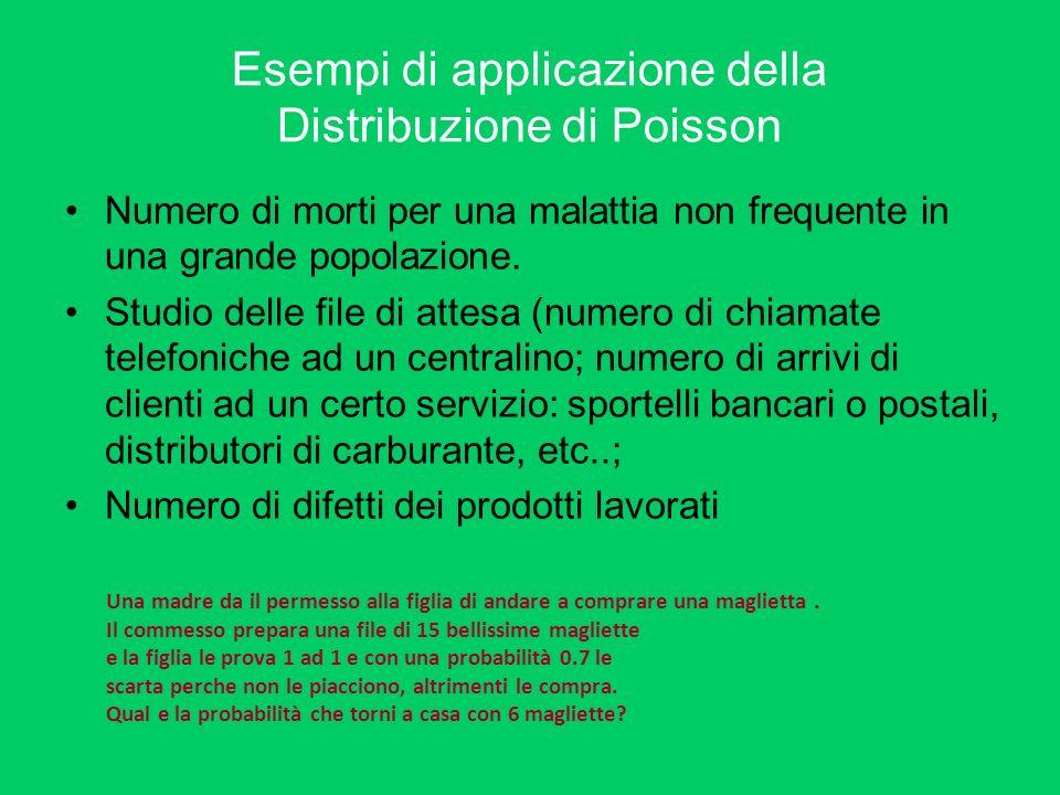 Esempi di applicazione della Distribuzione di Poisson Numero di morti per una malattia non frequente in una grande popolazione. Studio delle file di a
