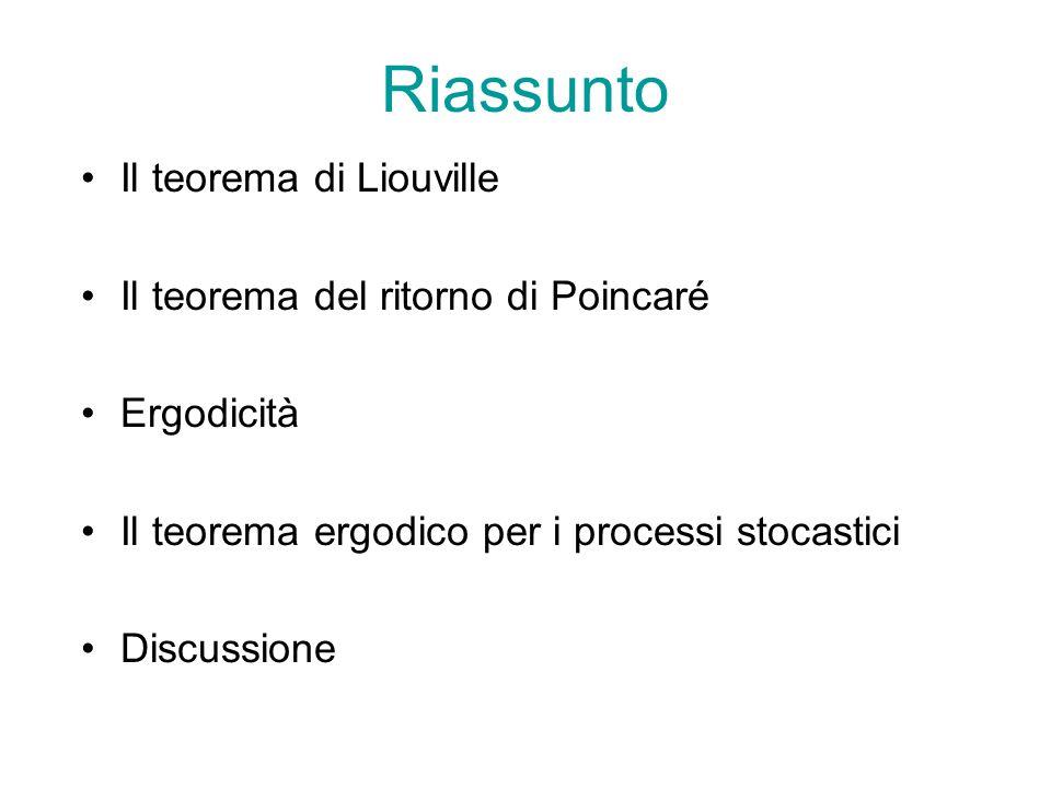 Riassunto Il teorema di Liouville Il teorema del ritorno di Poincaré Ergodicità Il teorema ergodico per i processi stocastici Discussione