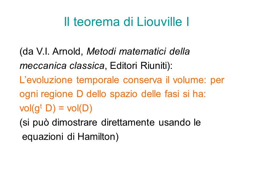 Il teorema di Liouville I (da V.I. Arnold, Metodi matematici della meccanica classica, Editori Riuniti): Levoluzione temporale conserva il volume: per