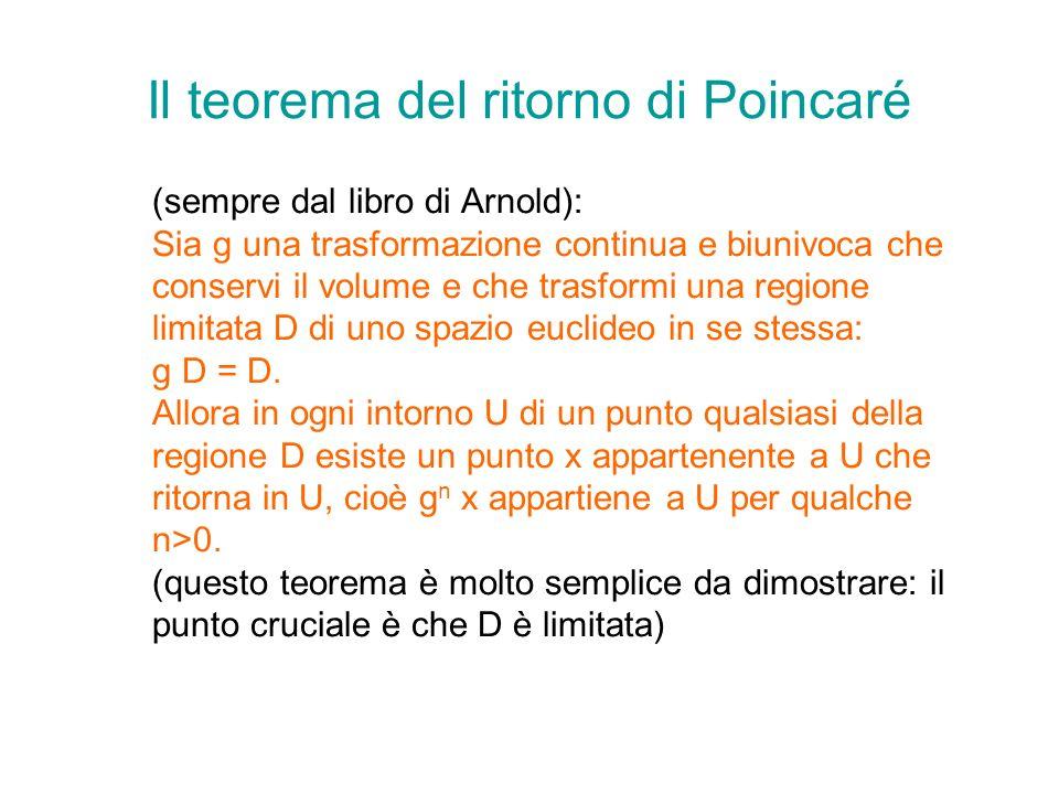 Il teorema del ritorno di Poincaré (sempre dal libro di Arnold): Sia g una trasformazione continua e biunivoca che conservi il volume e che trasformi