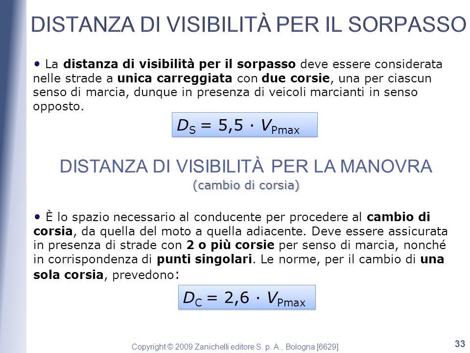 Copyright © 2009 Zanichelli editore S. p. A., Bologna [6629] 33 La distanza di visibilità per il sorpasso deve essere considerata nelle strade a unica