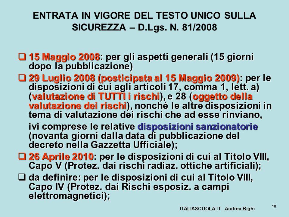 ITALIASCUOLA.IT Andrea Bighi 10 ENTRATA IN VIGORE DEL TESTO UNICO SULLA SICUREZZA – D.Lgs. N. 81/2008 15 Maggio 2008: per gli aspetti generali (15 gio