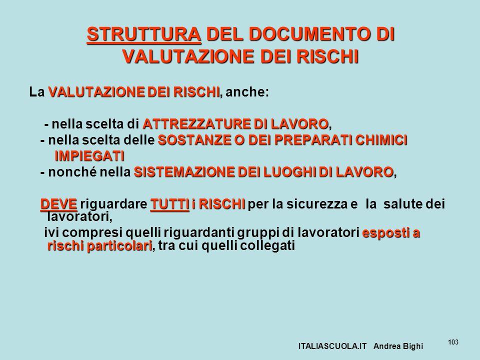ITALIASCUOLA.IT Andrea Bighi 103 STRUTTURA DEL DOCUMENTO DI VALUTAZIONE DEI RISCHI VALUTAZIONE DEI RISCHI La VALUTAZIONE DEI RISCHI, anche: ATTREZZATU