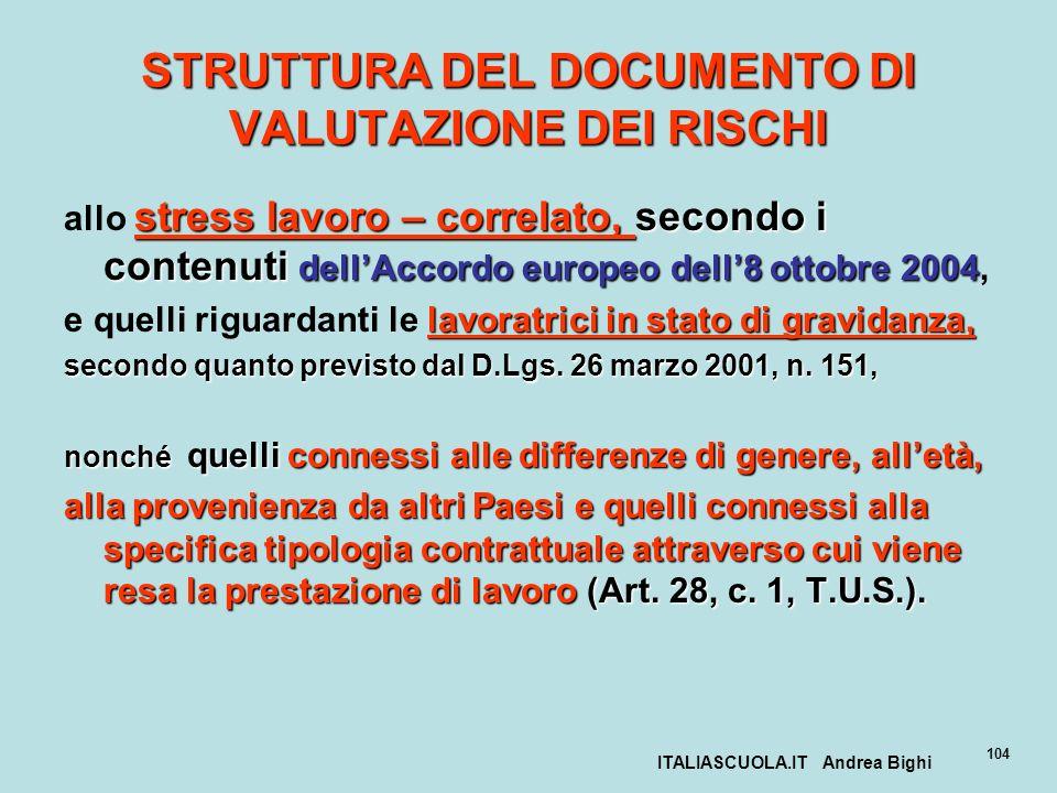 ITALIASCUOLA.IT Andrea Bighi 104 STRUTTURA DEL DOCUMENTO DI VALUTAZIONE DEI RISCHI stress lavoro – correlato, secondo i contenuti dellAccordo europeo