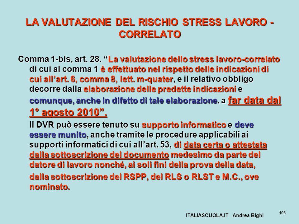 ITALIASCUOLA.IT Andrea Bighi 105 LA VALUTAZIONE DEL RISCHIO STRESS LAVORO - CORRELATO Comma 1-bis, art. 28. La valutazione dello stress lavoro-correla