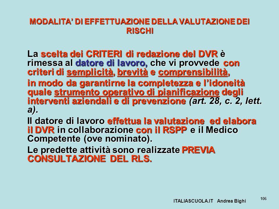 ITALIASCUOLA.IT Andrea Bighi 106 MODALITA DI EFFETTUAZIONE DELLA VALUTAZIONE DEI RISCHI La scelta dei CRITERI di redazione del DVR è rimessa al datore