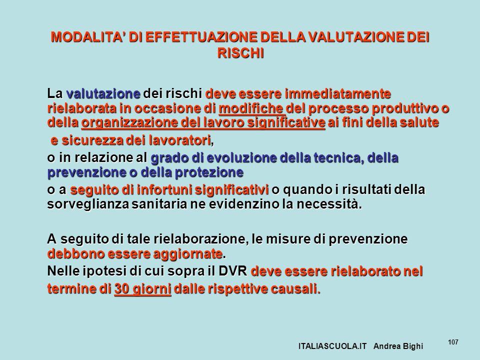 ITALIASCUOLA.IT Andrea Bighi 107 MODALITA DI EFFETTUAZIONE DELLA VALUTAZIONE DEI RISCHI La valutazione dei rischi deve essere immediatamente rielabora