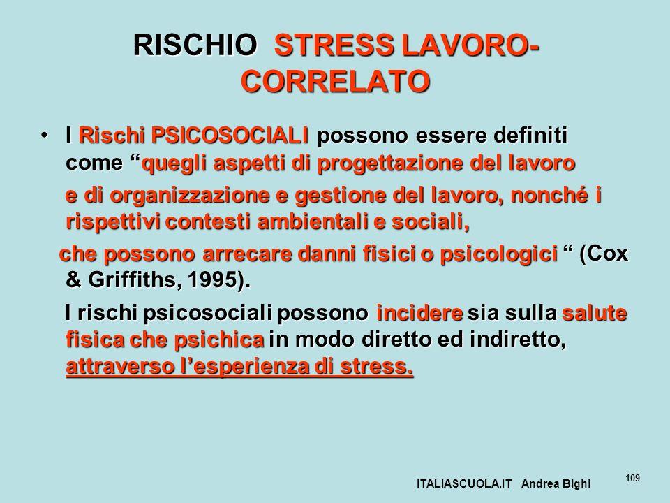 ITALIASCUOLA.IT Andrea Bighi 109 RISCHIO STRESS LAVORO- CORRELATO I Rischi PSICOSOCIALI possono essere definiti come quegli aspetti di progettazione d
