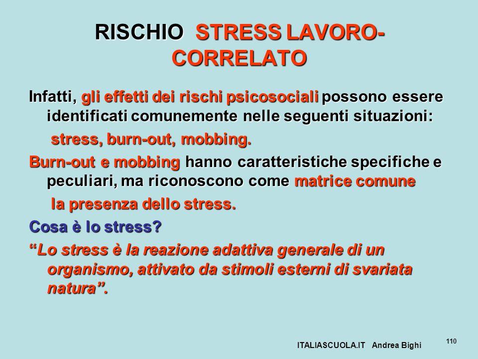 ITALIASCUOLA.IT Andrea Bighi 110 RISCHIO STRESS LAVORO- CORRELATO Infatti, gli effetti dei rischi psicosociali possono essere identificati comunemente