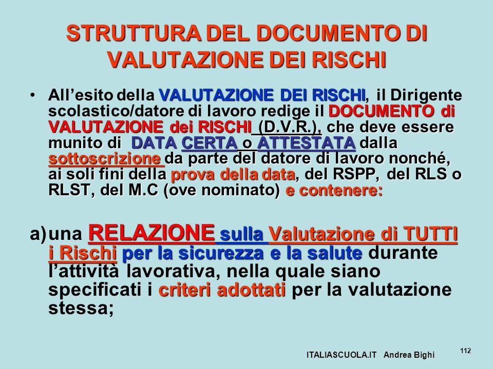 ITALIASCUOLA.IT Andrea Bighi 112 STRUTTURA DEL DOCUMENTO DI VALUTAZIONE DEI RISCHI VALUTAZIONE DEI RISCHI DOCUMENTO di VALUTAZIONE dei RISCHI (D.V.R.)