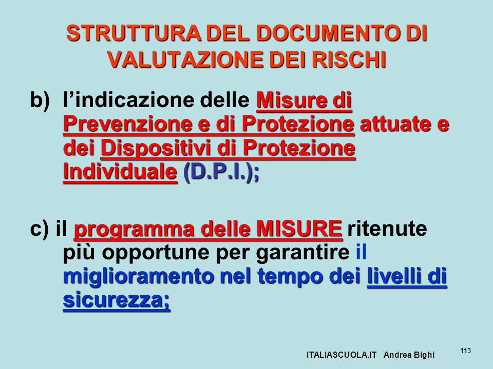 ITALIASCUOLA.IT Andrea Bighi 113 STRUTTURA DEL DOCUMENTO DI VALUTAZIONE DEI RISCHI Misure di Prevenzione e di Protezione attuate e dei Dispositivi di