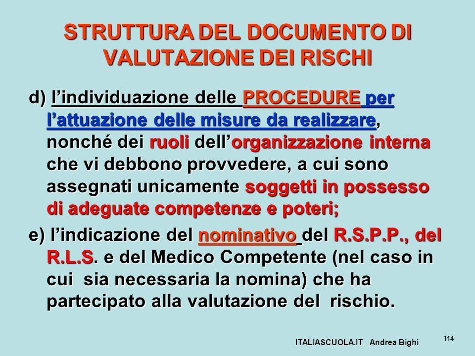 ITALIASCUOLA.IT Andrea Bighi 114 STRUTTURA DEL DOCUMENTO DI VALUTAZIONE DEI RISCHI d) lindividuazione delle PROCEDURE per lattuazione delle misure da