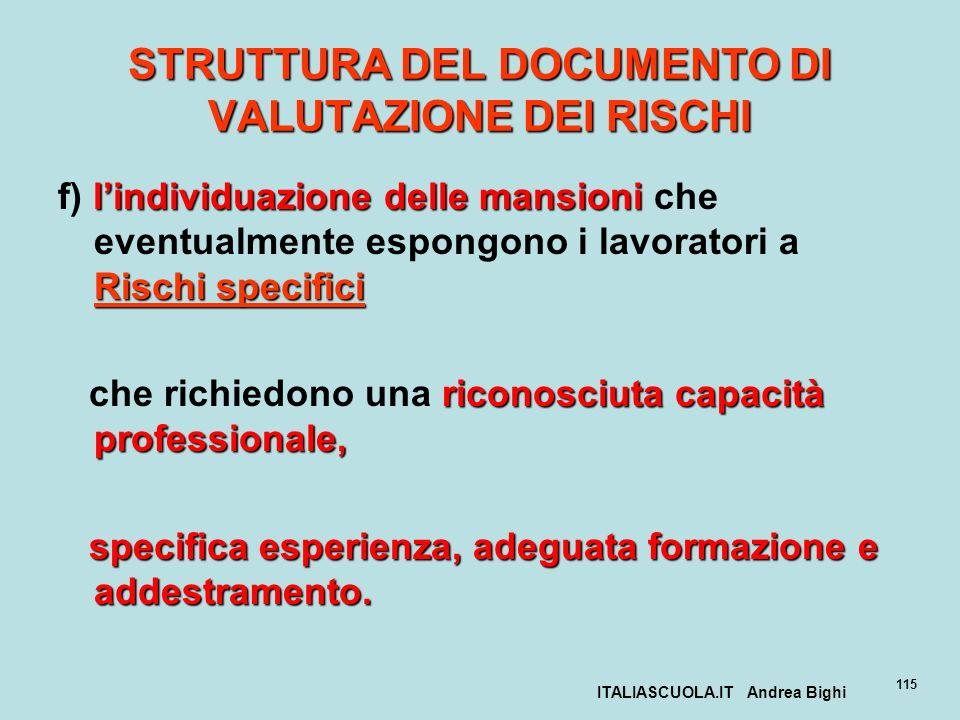 ITALIASCUOLA.IT Andrea Bighi 115 STRUTTURA DEL DOCUMENTO DI VALUTAZIONE DEI RISCHI lindividuazione delle mansioni Rischi specifici f) lindividuazione