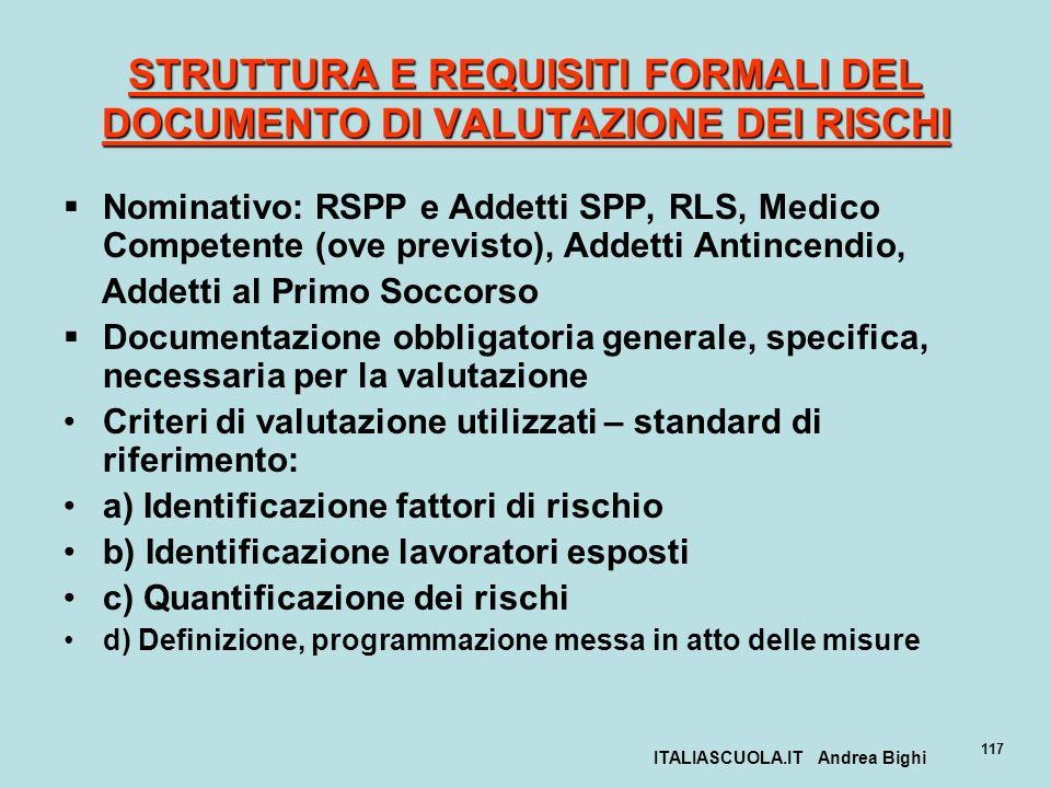 ITALIASCUOLA.IT Andrea Bighi 117 STRUTTURA E REQUISITI FORMALI DEL DOCUMENTO DI VALUTAZIONE DEI RISCHI Nominativo: RSPP e Addetti SPP, RLS, Medico Com