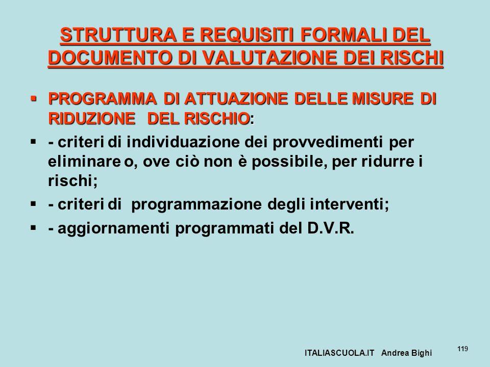ITALIASCUOLA.IT Andrea Bighi 119 STRUTTURA E REQUISITI FORMALI DEL DOCUMENTO DI VALUTAZIONE DEI RISCHI PROGRAMMA DI ATTUAZIONE DELLE MISURE DI RIDUZIO