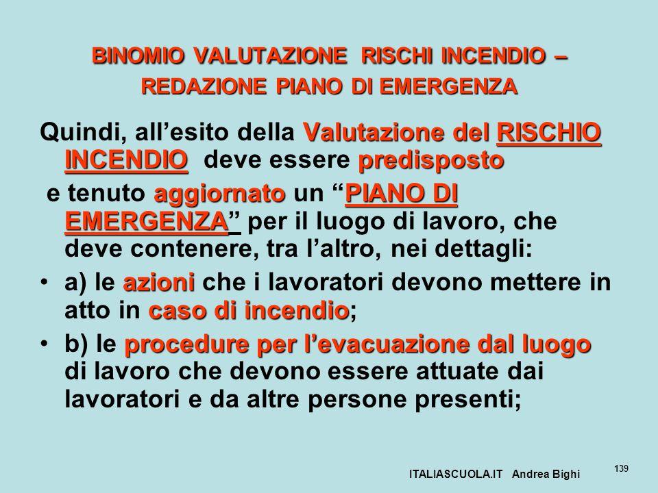 ITALIASCUOLA.IT Andrea Bighi 139 BINOMIO VALUTAZIONE RISCHI INCENDIO – REDAZIONE PIANO DI EMERGENZA Valutazione del RISCHIO INCENDIOpredisposto Quindi