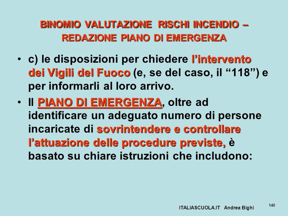 ITALIASCUOLA.IT Andrea Bighi 140 BINOMIO VALUTAZIONE RISCHI INCENDIO – REDAZIONE PIANO DI EMERGENZA lintervento dei Vigili del Fuococ) le disposizioni