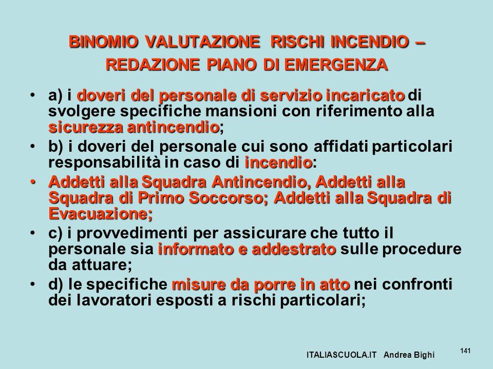 ITALIASCUOLA.IT Andrea Bighi 141 BINOMIO VALUTAZIONE RISCHI INCENDIO – REDAZIONE PIANO DI EMERGENZA doveri del personale di servizio incaricato sicure