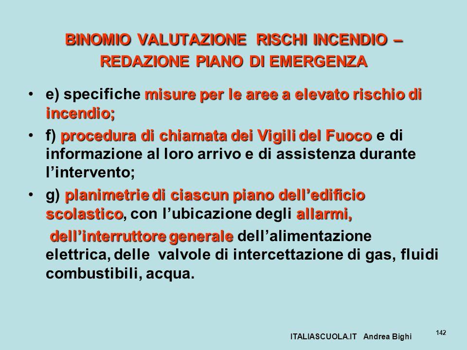 ITALIASCUOLA.IT Andrea Bighi 142 BINOMIO VALUTAZIONE RISCHI INCENDIO – REDAZIONE PIANO DI EMERGENZA misure per le aree a elevato rischio di incendio;e