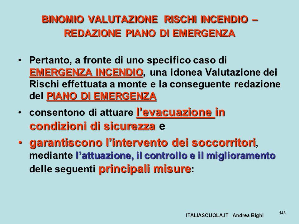 ITALIASCUOLA.IT Andrea Bighi 143 BINOMIO VALUTAZIONE RISCHI INCENDIO – REDAZIONE PIANO DI EMERGENZA EMERGENZA INCENDIO PIANO DI EMERGENZAPertanto, a f