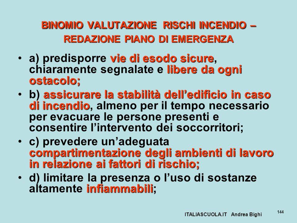 ITALIASCUOLA.IT Andrea Bighi 144 BINOMIO VALUTAZIONE RISCHI INCENDIO – REDAZIONE PIANO DI EMERGENZA vie di esodo sicure libere da ogni ostacolo;a) pre