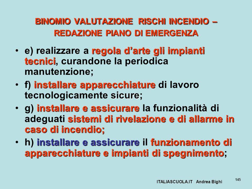 ITALIASCUOLA.IT Andrea Bighi 145 BINOMIO VALUTAZIONE RISCHI INCENDIO – REDAZIONE PIANO DI EMERGENZA regola darte gli impianti tecnicie) realizzare a r