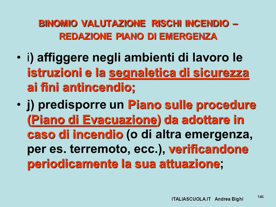 ITALIASCUOLA.IT Andrea Bighi 146 BINOMIO VALUTAZIONE RISCHI INCENDIO – REDAZIONE PIANO DI EMERGENZA istruzioni e la segnaletica di sicurezza ai fini a