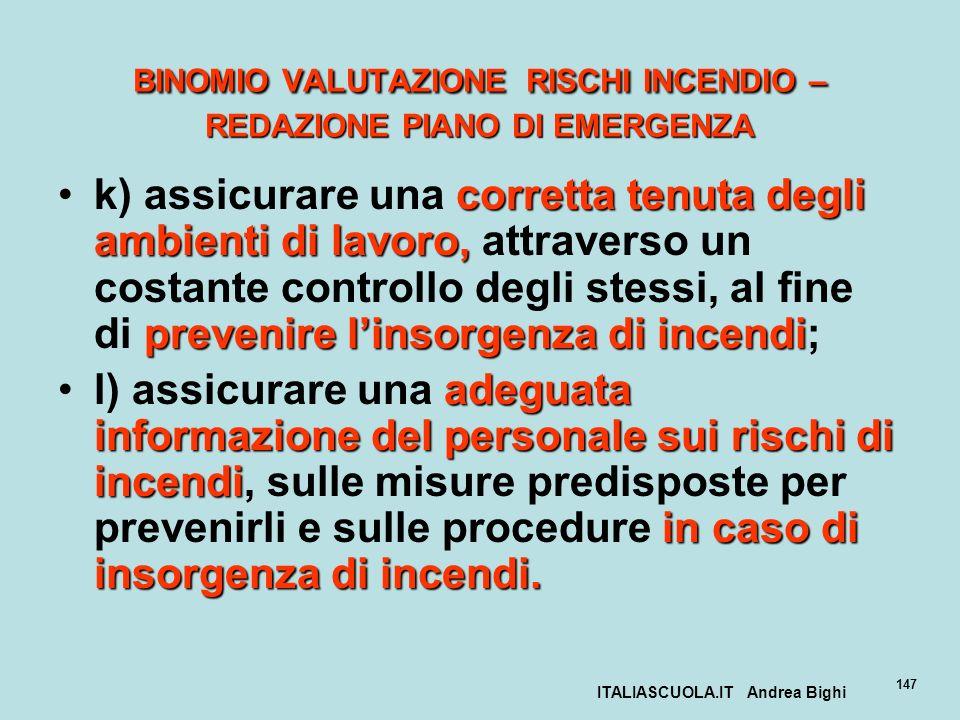ITALIASCUOLA.IT Andrea Bighi 147 BINOMIO VALUTAZIONE RISCHI INCENDIO – REDAZIONE PIANO DI EMERGENZA corretta tenuta degli ambienti di lavoro, prevenir