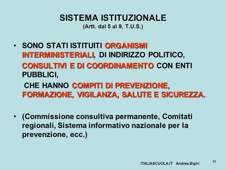 ITALIASCUOLA.IT Andrea Bighi 15 SISTEMA ISTITUZIONALE SISTEMA ISTITUZIONALE (Artt. dal 5 al 9, T.U.S.) ORGANISMI INTERMINISTERIALISONO STATI ISTITUITI