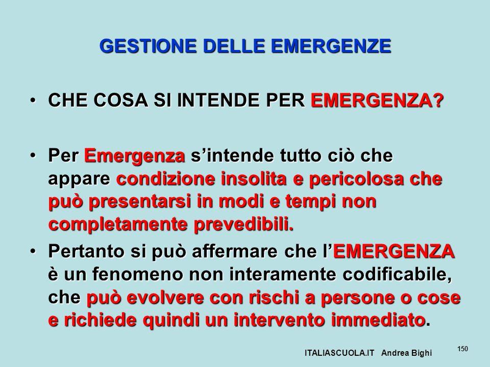 ITALIASCUOLA.IT Andrea Bighi 150 GESTIONE DELLE EMERGENZE CHE COSA SI INTENDE PER EMERGENZA?CHE COSA SI INTENDE PER EMERGENZA? Per Emergenza sintende