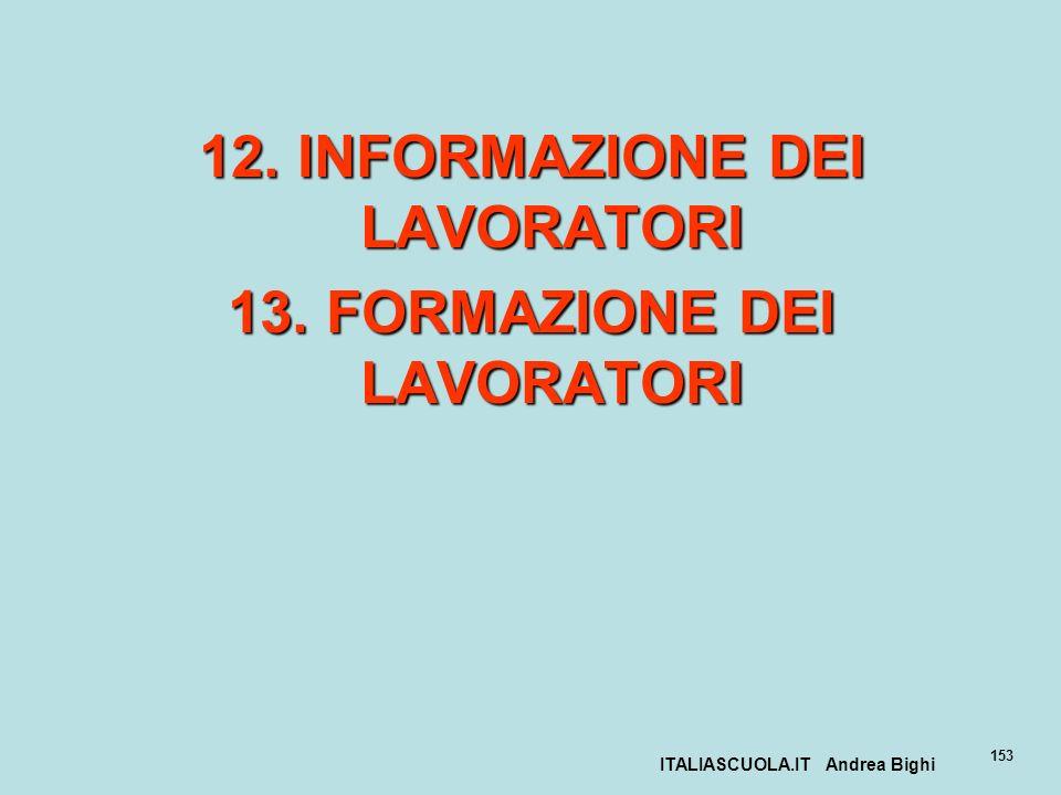 ITALIASCUOLA.IT Andrea Bighi 153 12. INFORMAZIONE DEI LAVORATORI 13. FORMAZIONE DEI LAVORATORI