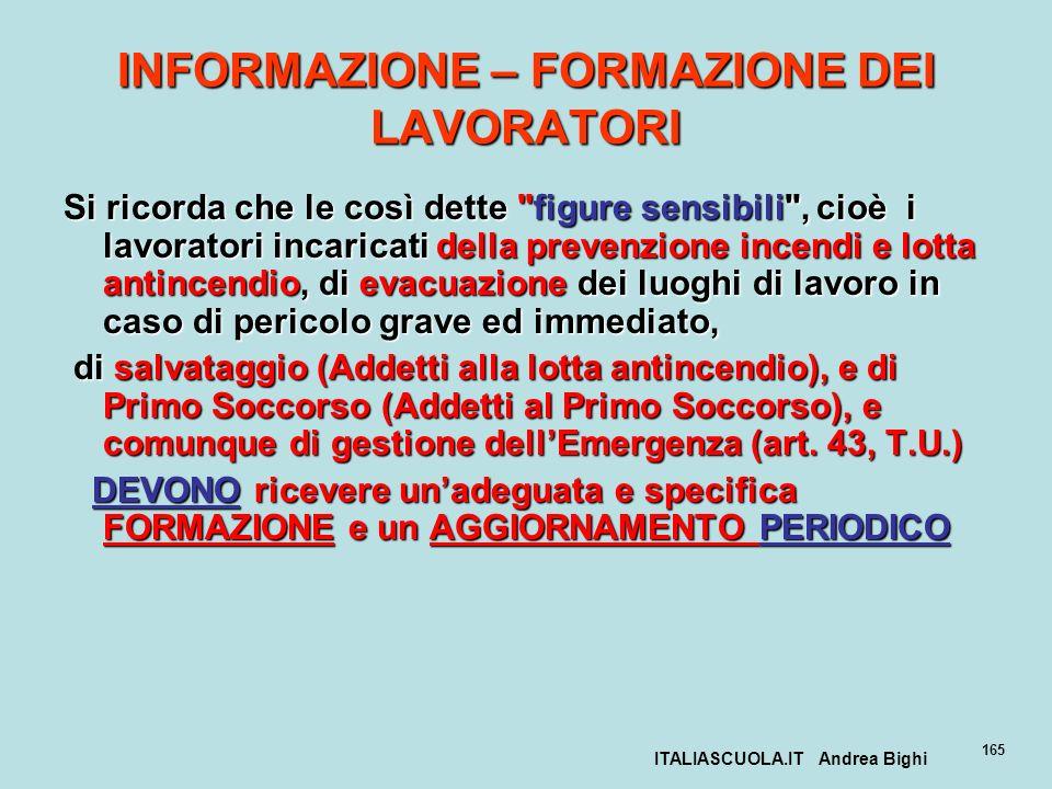 ITALIASCUOLA.IT Andrea Bighi 165 INFORMAZIONE – FORMAZIONE DEI LAVORATORI Si ricorda che le così dette