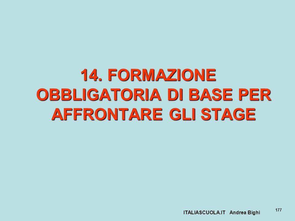 ITALIASCUOLA.IT Andrea Bighi 177 14. FORMAZIONE OBBLIGATORIA DI BASE PER AFFRONTARE GLI STAGE