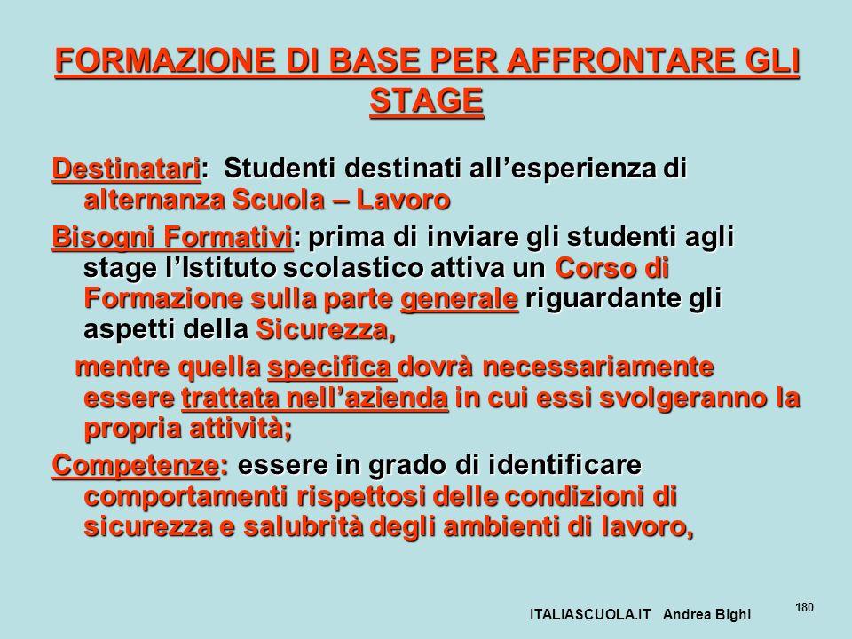ITALIASCUOLA.IT Andrea Bighi 180 FORMAZIONE DI BASE PER AFFRONTARE GLI STAGE Destinatari: Studenti destinati allesperienza di alternanza Scuola – Lavo