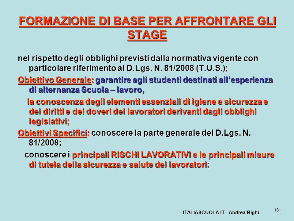 ITALIASCUOLA.IT Andrea Bighi 181 FORMAZIONE DI BASE PER AFFRONTARE GLI STAGE nel rispetto degli obblighi previsti dalla normativa vigente con particol