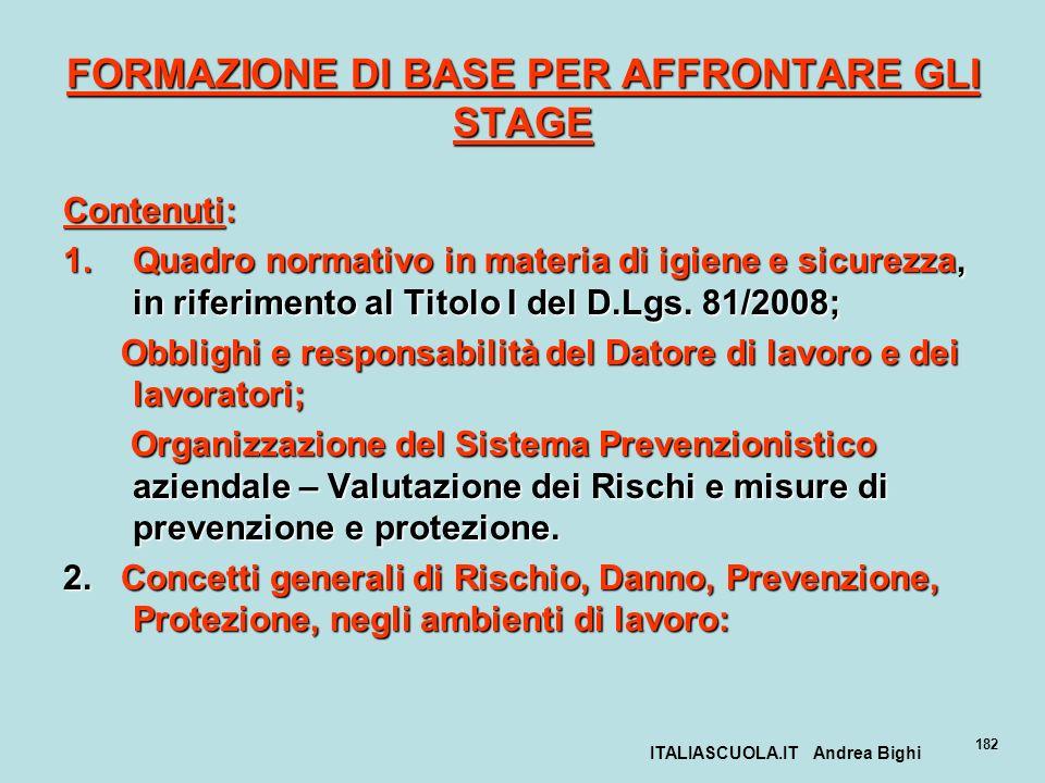ITALIASCUOLA.IT Andrea Bighi 182 FORMAZIONE DI BASE PER AFFRONTARE GLI STAGE Contenuti: 1.Quadro normativo in materia di igiene e sicurezza, in riferi