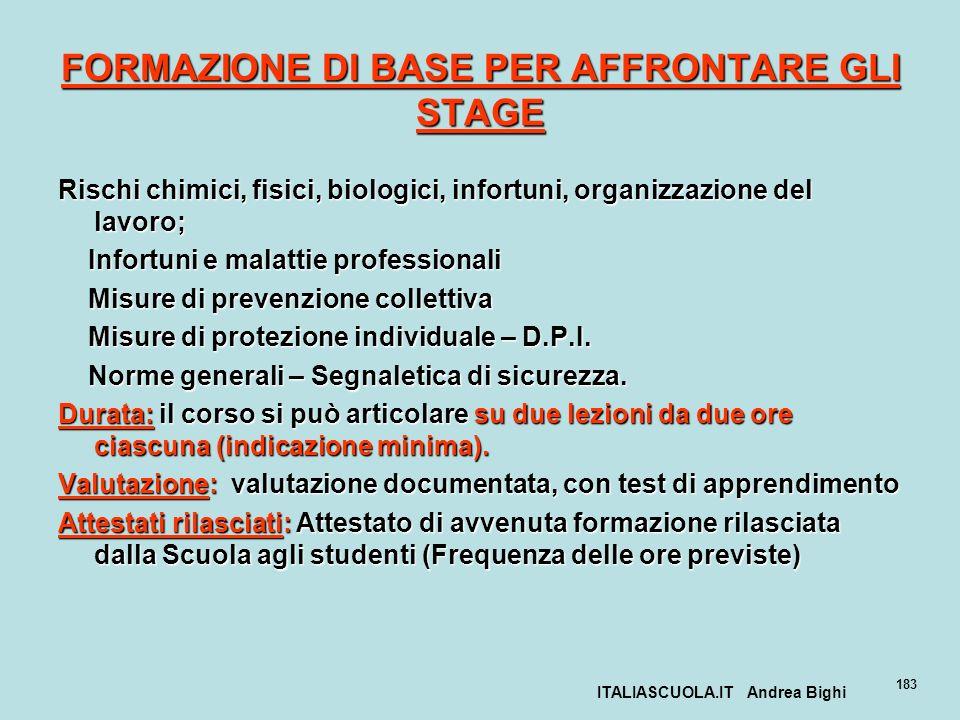 ITALIASCUOLA.IT Andrea Bighi 183 FORMAZIONE DI BASE PER AFFRONTARE GLI STAGE Rischi chimici, fisici, biologici, infortuni, organizzazione del lavoro;