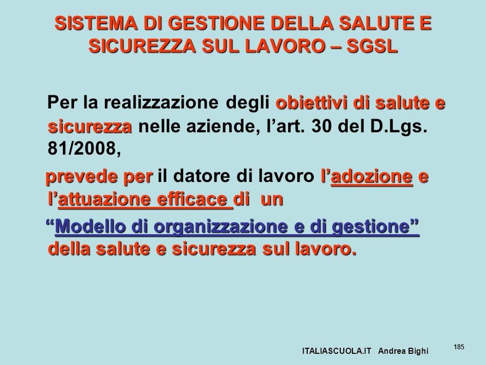 ITALIASCUOLA.IT Andrea Bighi 185 SISTEMA DI GESTIONE DELLA SALUTE E SICUREZZA SUL LAVORO – SGSL obiettivi di salute e sicurezza Per la realizzazione d