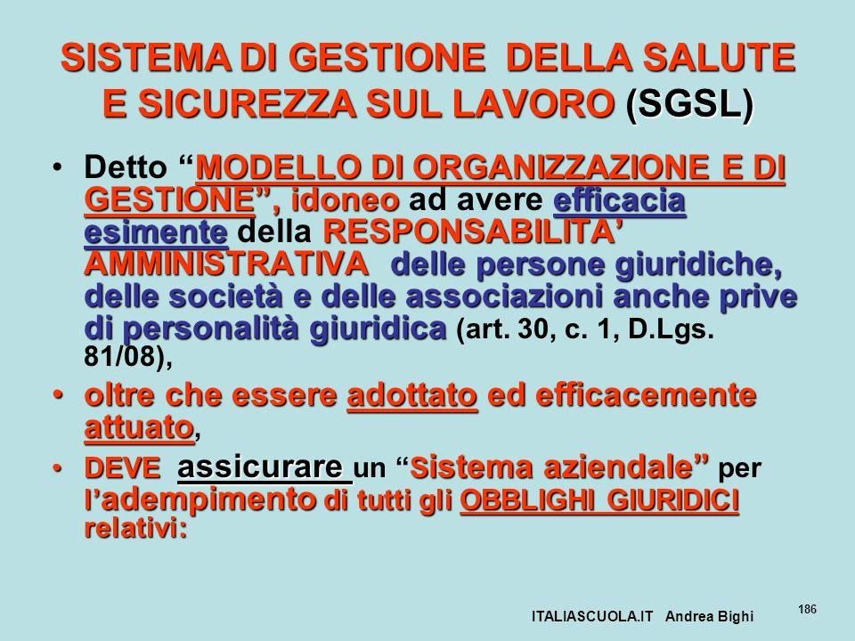 ITALIASCUOLA.IT Andrea Bighi 186 SISTEMA DI GESTIONE DELLA SALUTE E SICUREZZA SUL LAVORO (SGSL) MODELLO DI ORGANIZZAZIONE E DI GESTIONE, idoneoefficac