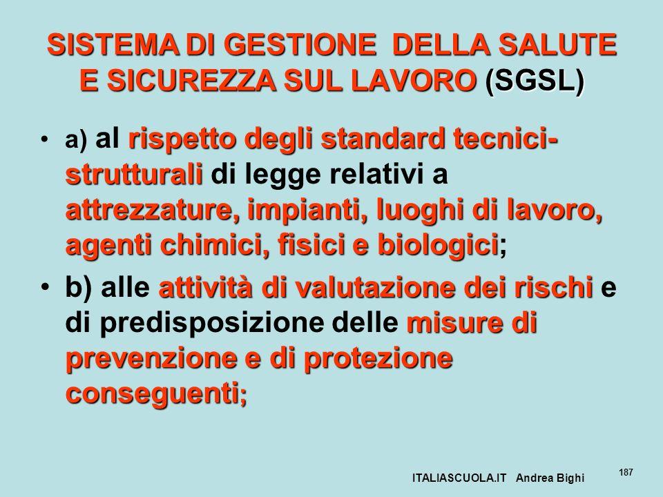 ITALIASCUOLA.IT Andrea Bighi 187 SISTEMA DI GESTIONE DELLA SALUTE E SICUREZZA SUL LAVORO (SGSL) rispetto degli standard tecnici- strutturali attrezzat