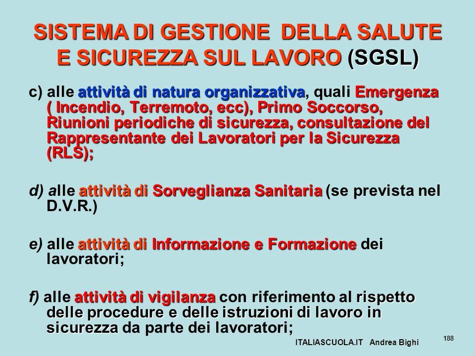 ITALIASCUOLA.IT Andrea Bighi 188 SISTEMA DI GESTIONE DELLA SALUTE E SICUREZZA SUL LAVORO (SGSL) attività di natura organizzativa Emergenza ( Incendio,
