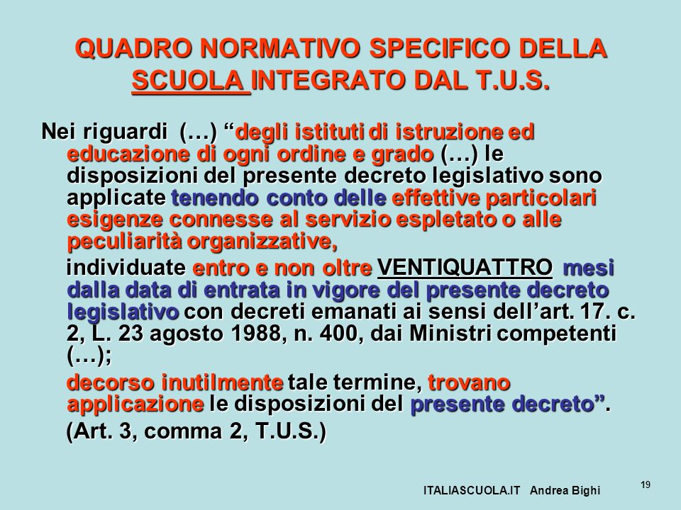 ITALIASCUOLA.IT Andrea Bighi 19 QUADRO NORMATIVO SPECIFICO DELLA SCUOLA INTEGRATO DAL T.U.S. Nei riguardi (…) degli istituti di istruzione ed educazio