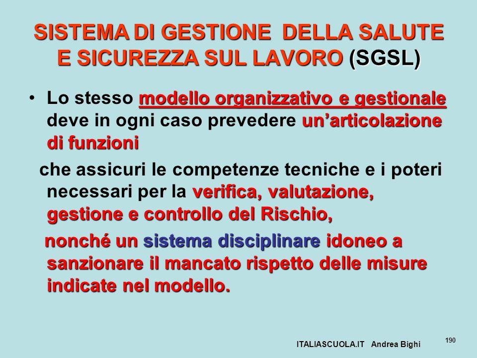 ITALIASCUOLA.IT Andrea Bighi 190 SISTEMA DI GESTIONE DELLA SALUTE E SICUREZZA SUL LAVORO (SGSL) modello organizzativo e gestionale unarticolazione di