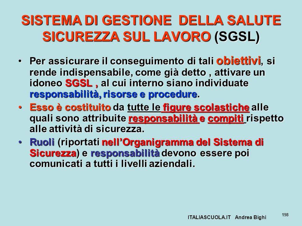 ITALIASCUOLA.IT Andrea Bighi 198 SISTEMA DI GESTIONE DELLA SALUTE SICUREZZA SUL LAVORO (SGSL) Per assicurare il conseguimento di tali obiettivi, si re