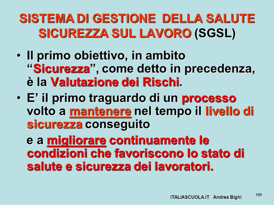 ITALIASCUOLA.IT Andrea Bighi 199 SISTEMA DI GESTIONE DELLA SALUTE SICUREZZA SUL LAVORO (SGSL) Il primo obiettivo, in ambitoSicurezza, come detto in pr