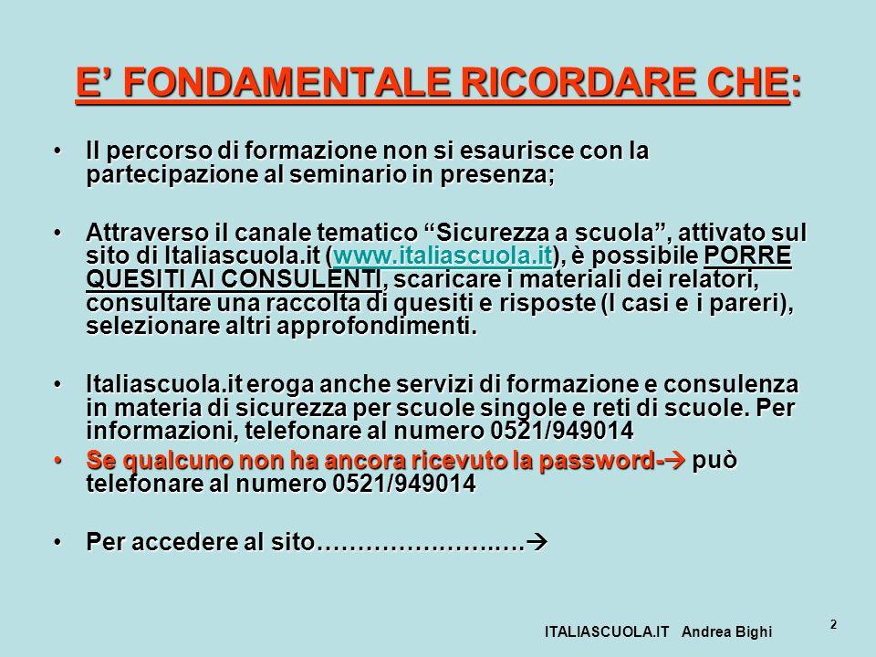 ITALIASCUOLA.IT Andrea Bighi 2 E FONDAMENTALE RICORDARE CHE: Il percorso di formazione non si esaurisce con la partecipazione al seminario in presenza