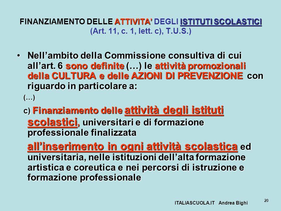 ITALIASCUOLA.IT Andrea Bighi 20 ATTIVITAISTITUTI SCOLASTICI FINANZIAMENTO DELLE ATTIVITA DEGLI ISTITUTI SCOLASTICI (Art. 11, c. 1, lett. c), T.U.S.) N
