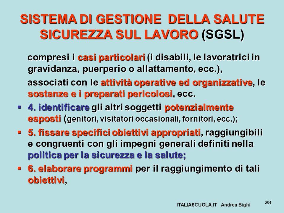 ITALIASCUOLA.IT Andrea Bighi 204 SISTEMA DI GESTIONE DELLA SALUTE SICUREZZA SUL LAVORO (SGSL) compresi i casi particolari (i disabili, le lavoratrici